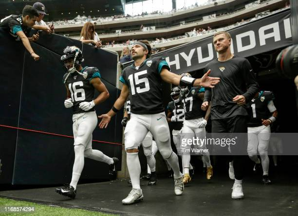 Gardner Minshew of the Jacksonville Jaguars enters the stadium before the game against the Houston Texans at NRG Stadium on September 15 2019 in...