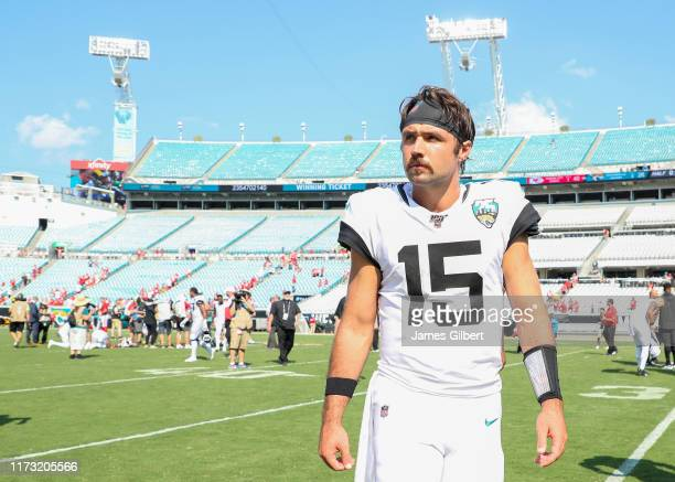 Gardner Minshew of the Jacksonville Jaguars looks on after a game against the Kansas City Chiefs at TIAA Bank Field on September 08 2019 in...