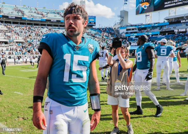 Gardner Minshew of the Jacksonville Jaguars looks on after a game against the New Orleans Saints at TIAA Bank Field on October 13 2019 in...