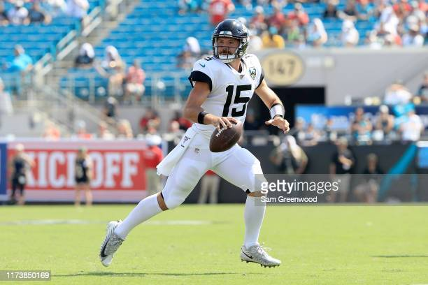 Gardner Minshew of the Jacksonville Jaguars looks to pass during the game against the Kansas City Chiefs at TIAA Bank Field on September 08 2019 in...