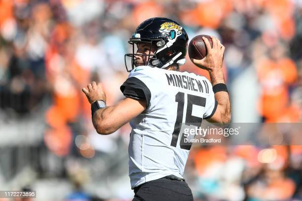 Gardner Minshew of the Jacksonville Jaguars passes against the Denver Broncos at Empower Field at Mile High on September 29 2019 in Denver Colorado