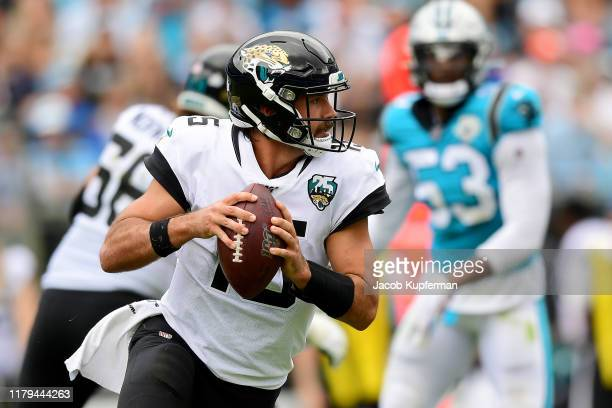Gardner Minshew of the Jacksonville Jaguars runs with the ball in the third quarter during their game against the Carolina Panthers at Bank of...