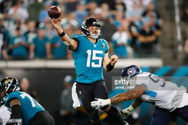 Gardner Minshew of the Jacksonville Jaguars throws a pass during the second quarter against the Tennessee Titans at TIAA Bank Field on September 19...