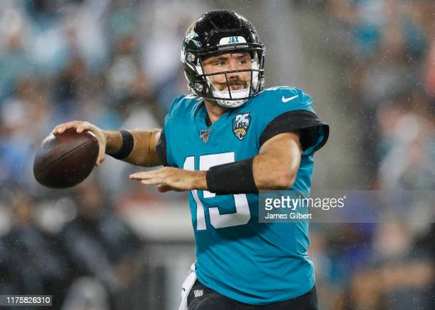 Gardner Minshew of the Jacksonville Jaguars throws a pass during the third quarter of a game against the Tennessee Titans at TIAA Bank Field on...