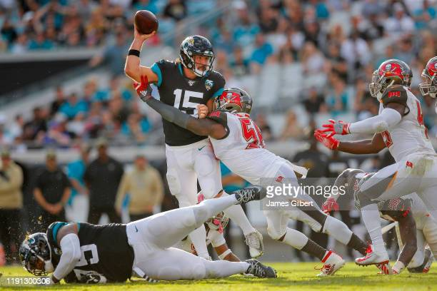 Gardner Minshew of the Jacksonville Jaguars throws a pass during the fourth quarter of a game against the Tampa Bay Buccaneers at TIAA Bank Field on...