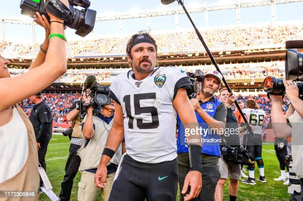Gardner Minshew of the Jacksonville Jaguars walks on the field after a 2624 lion over the Denver Broncos at Empower Field at Mile High on September...