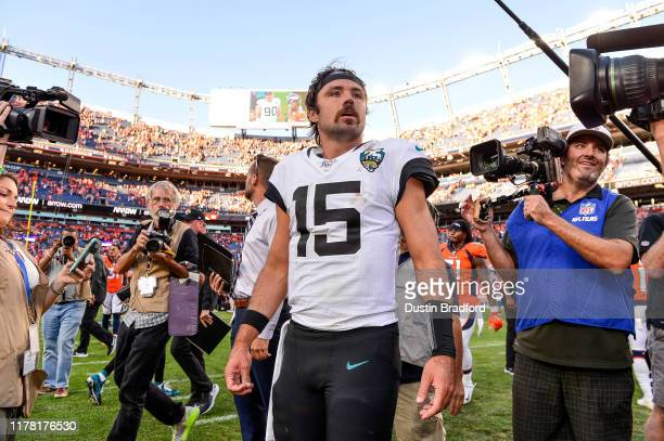 Gardner Minshew of the Jacksonville Jaguars walks on the field after a 2624 win over the Denver Broncos at Empower Field at Mile High on September 29...