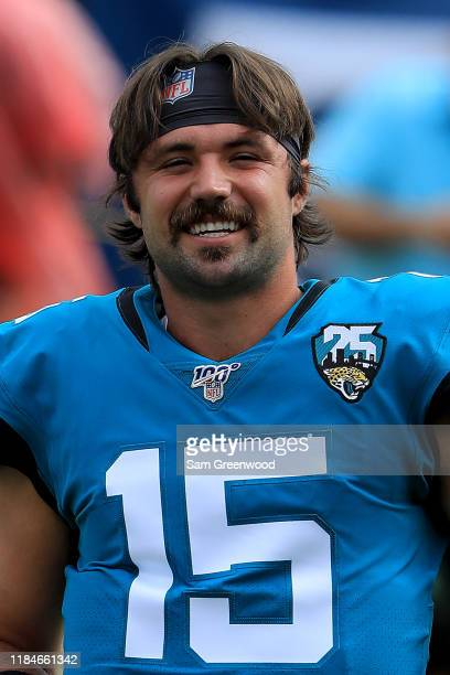 Gardner Minshew of the Jacksonville Jaguars warms up prior to the game against the New York Jets at TIAA Bank Field on October 27 2019 in...