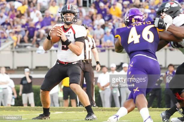 GardnerWebb Runnin Bulldogs quarterback Jordan Smith drops back to pass during a game between the East Carolina Pirates and the GardnerWebb Runnin'...