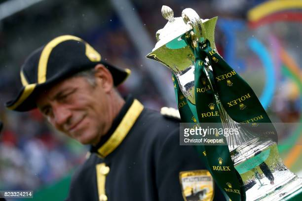 Gards King Carl XVI Gustaf of Swedene of the Rolex Grand Prix trophy during the Rolex Grand Prix of during the Rolex Grand Prix of CHIO Aachen 2017...