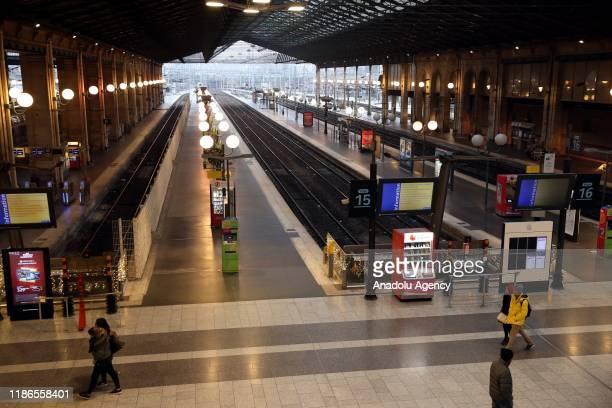 Gare Du Nord metro station is seen during a strike of Paris public transports operator RATP and public railways company SNCF employees against French...