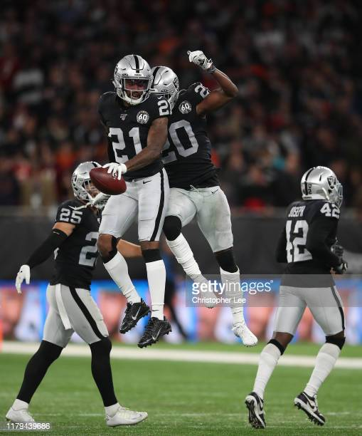 Gareon Conley of Oakland Raiders celebrates his interception in the last few minutes with Daryl Worley of Oakland Raiders during the game between...