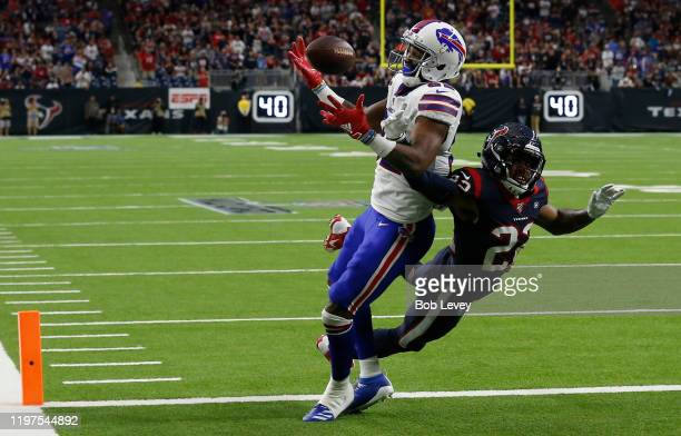 Gareon Conley of the Houston Texans breaks up a pass in the end zone to wide receiver Duke Williams of the Buffalo Bills during second quarter of the...