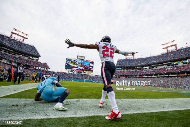 Gareon Conley of the Houston Texans celebrates breaking up a pass in the end zone intended for A.J. Brown of the Tennessee Titans during the fourth...