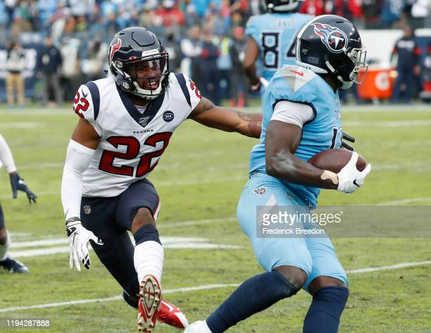 Gareon Conley of the Houston Texans pursues A.J. Brown of the Tennessee Titans at Nissan Stadium on December 15, 2019 in Nashville, Tennessee.