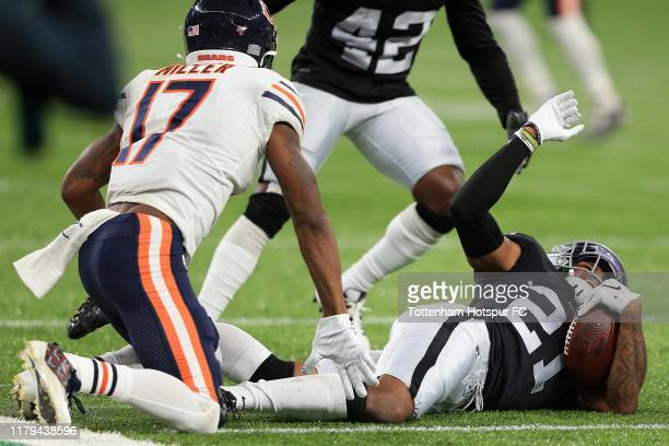 Gareon Conley of the Oakland Raiders celebrates a reception during the NFL match between Chicago Bears andOakland Raiders at Tottenham Hotspur...