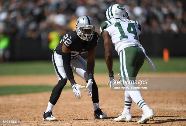 Gareon Conley of the Oakland Raiders in action guarding Jeremy Kerley of the New York Jets during the third quarter of their NFL football game at...