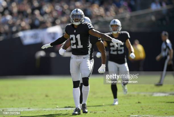 Gareon Conley of the Oakland Raiders reacts after breaking up a pass on third down against the Indianapolis Colts during the first half of their NFL...