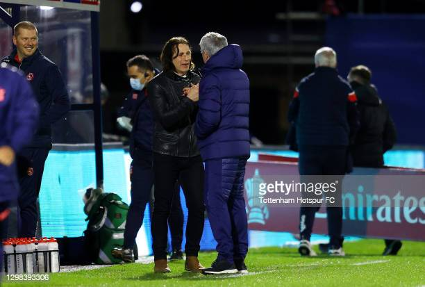 Gareth Ainsworth, Manager of Wycombe Wanderers and Jose Mourinho, Manager of Tottenham Hotspur interact ahead of The Emirates FA Cup Fourth Round...