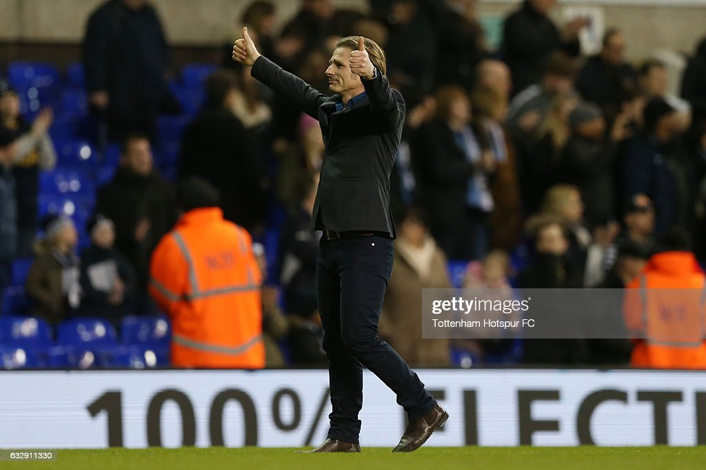 Gareth Ainsworth, Manager of Wycombe Wanderers applauds supporters after the full time whistle during the Emirates FA Cup Fourth Round match between Tottenham Hotspur and Wycombe Wanderers at White Hart Lane on January 28, 2017 in London, England.