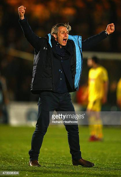 Gareth Ainsworth manager of Wycombe Wanderers celebrates as his team reach the final after the Sky Bet League Two Playoff semi final match between...