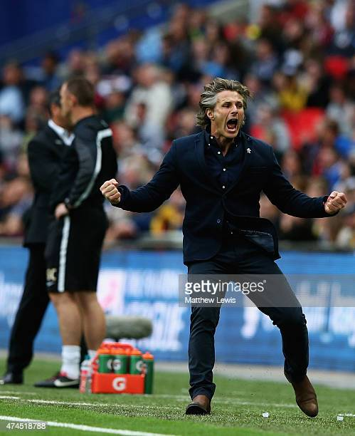 Gareth Ainsworth manager of Wycombe Wanderers celebrates Joe Jacobson's goal during the Sky Bet League Two Playoff Final between Southend United and...