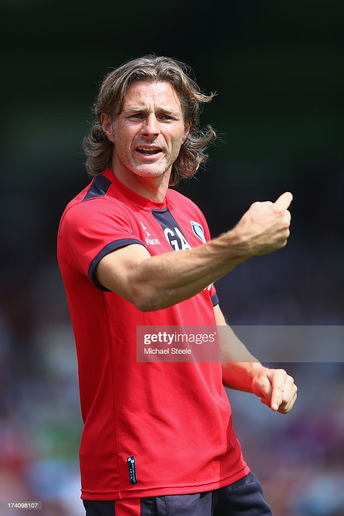 Gareth Ainsworth manager of Wycombe Wanderers during the Pre Season Friendly match between Wycombe Wanderers and Aston Villa at Adams Park on July 20, 2013 in High Wycombe, England.
