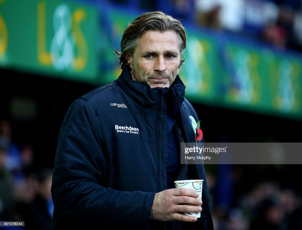 Gareth Ainsworth Manager of Wycombe Wanderers looks on during the Emirates FA Cup First Round match between Portsmouth and Wycombe Wanderers at Fratton Park on November 5, 2016 in Portsmouth, England.