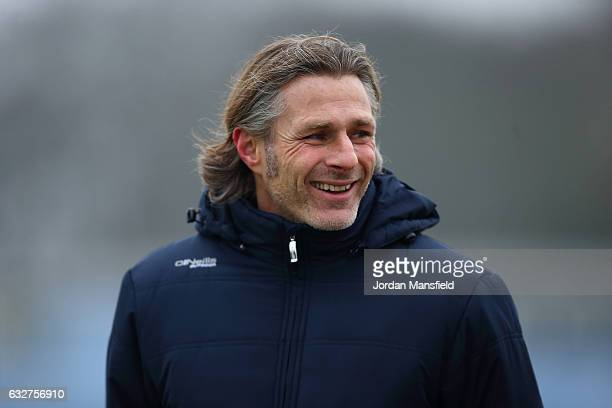 Gareth Ainsworth manager of Wycombe Wanderers looks on during Wycombe Wanderers Media Access at the Wycombe Wanderers FC Training Ground on January...