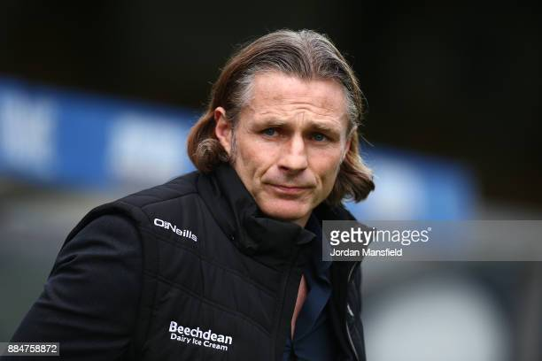Gareth Ainsworth Manager of Wycombe Wanderers looks on prior to The Emirates FA Cup Second Round between Wycombe Wanderers and Leatherhead at Adams...