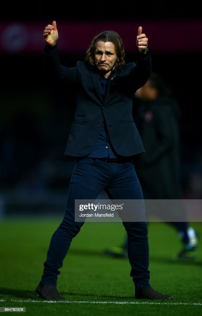 Gareth Ainsworth, Manager of Wycombe Wanderers shows appreciation to the fans after The Emirates FA Cup Second Round between Wycombe Wanderers and Leatherhead at Adams Park on December 3, 2017 in High Wycombe, England.