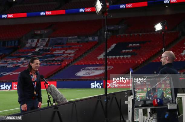 Gareth Ainsworth manager of Wycombe Wanderers takes part in a socially distanced television interview after the Sky Bet League One Play Off Final...