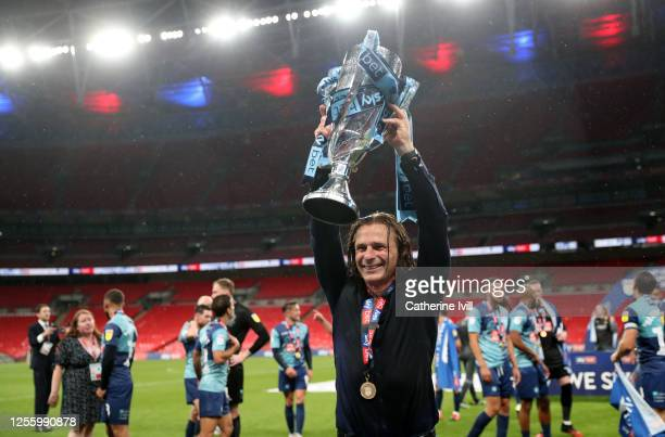Gareth Ainsworth the manager of Wycombe Wanderers celebrates after the Sky Bet League One Play Off Final between Oxford United and Wycombe Wanderers...