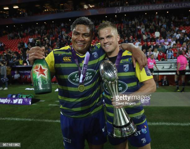 Gareth Anscombe and Nick Williams of Cardiff Blues celebrates after winning the European Rugby Challenge Cup Final match between Cardiff Blues and...