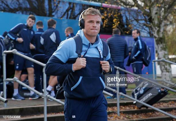 Gareth Anscombe of Cardiff Blues arrives at the ground before the Champions Cup match between Saracens and Cardiff Blues at Allianz Park on December...