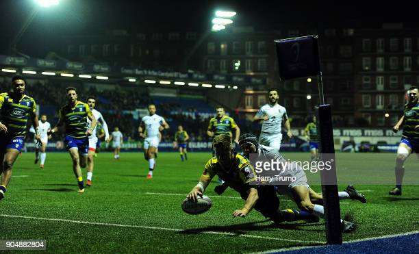 Gareth Anscombe of Cardiff Blues goes over for his sides second try during the European Rugby Challenge Cup match between Cardiff Blues and Toulouse...