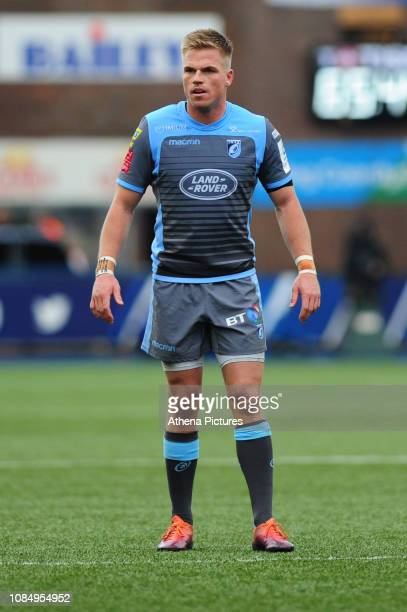 Gareth Anscombe of Cardiff Blues in action during the Heineken Champions Cup Round 6 match between the Cardiff Blues v Lyon Olympique Universitaire...