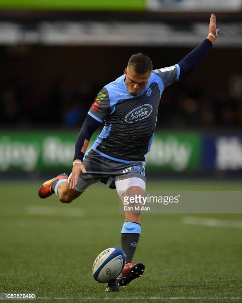 Gareth Anscombe of Cardiff Blues kicks a conversion during the Champions Cup match between Cardiff Blues and Saracens at Cardiff Arms Park on...