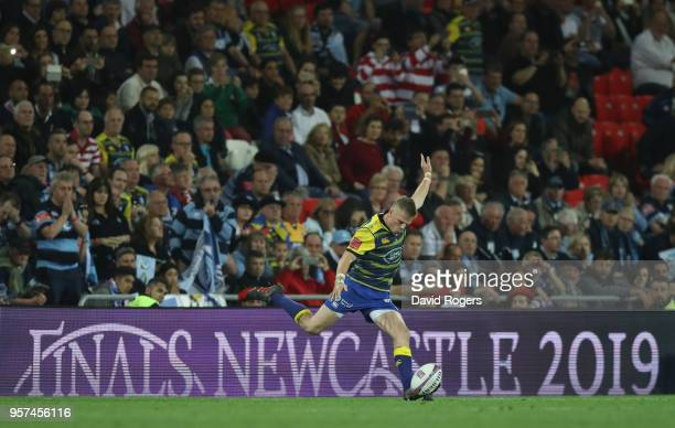 Gareth Anscombe of Cardiff Blues kicks a penalty to win the European Rugby Challenge Cup Final match between Cardiff Blues and Gloucester Rugby at...