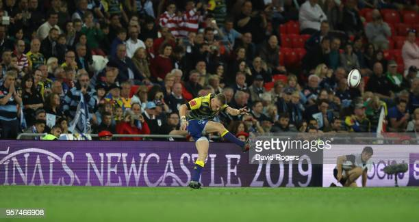 Gareth Anscombe of Cardiff kicks the match winning penalty during the European Rugby Challenge Cup Final match between Cardiff Blues v Gloucester...