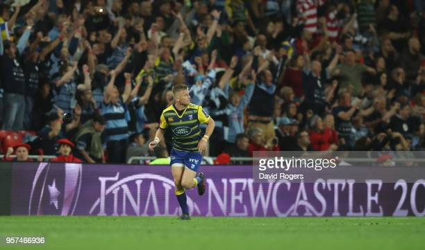 Gareth Anscombe of Cardiff turns after kicking the match winning penalty during the European Rugby Challenge Cup Final match between Cardiff Blues v...