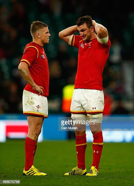 Gareth Anscombe of Wales and captain Sam Warburton of Wales look dejected after during the 2015 Rugby World Cup Quarter Final match between South...