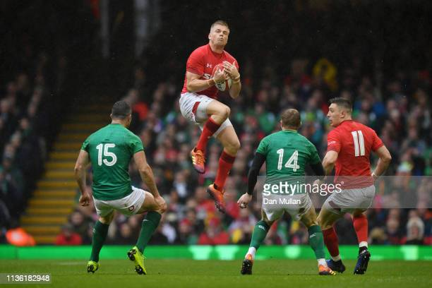 Gareth Anscombe of Wales catches ball during the Guinness Six Nations match between Wales and Ireland at Principality Stadium on March 16 2019 in...
