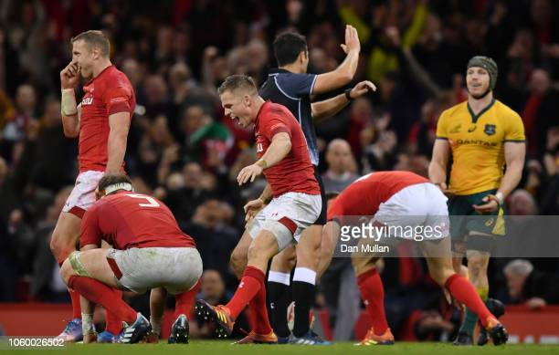 Gareth Anscombe of Wales celebrates on the final whistle during the International Friendly match between Wales and Australia at Principality Stadium...