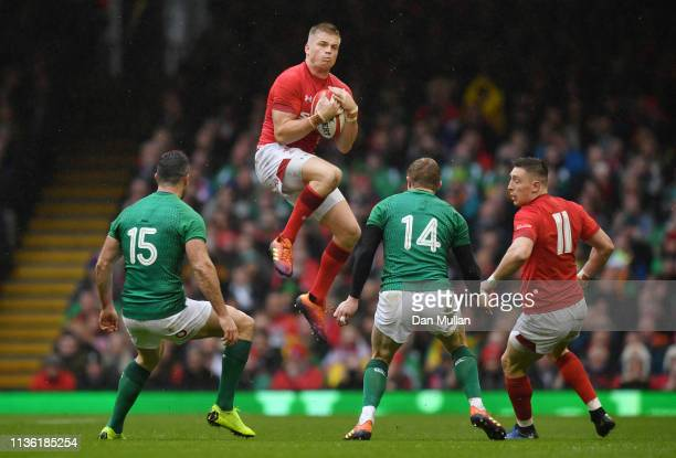 Gareth Anscombe of Wales collects a high ball during the Guinness Six Nations match between Wales and Ireland at Principality Stadium on March 16...