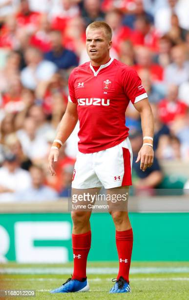 Gareth Anscombe of Wales during the 2019 Quilter International between England and Wales at Twickenham Stadium on August 11, 2019 in London, England.