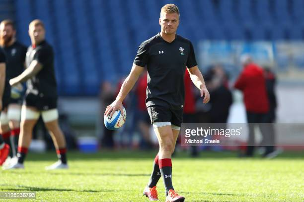 Gareth Anscombe of Wales during the captain's run at Stadio Olimpico on February 08 2019 in Rome Italy