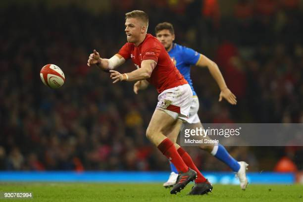 Gareth Anscombe of Wales during the NatWest Six Nations match between Wales and Italy at the Principality Stadium on March 11 2018 in Cardiff Wales