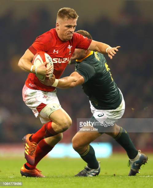 Gareth Anscombe of Wales is tackled during the International Friendly match between Wales and South Africa on November 24 2018 in Cardiff United...