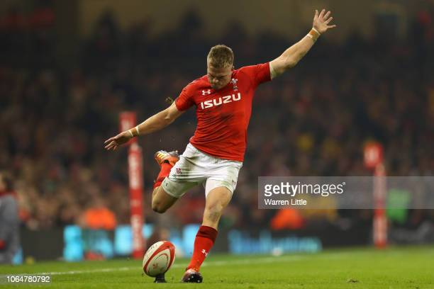 Gareth Anscombe of Wales kicks during the International Friendly match between Wales and South Africa on November 24 2018 in Cardiff United Kingdom